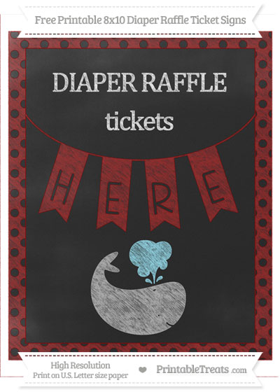 Free Dark Red Polka Dot Chalk Style Whale 8x10 Diaper Raffle Ticket Sign