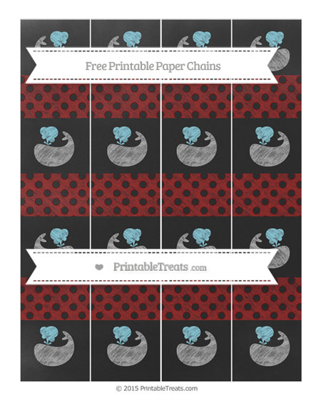 Free Dark Red Polka Dot Chalk Style Whale Paper Chains