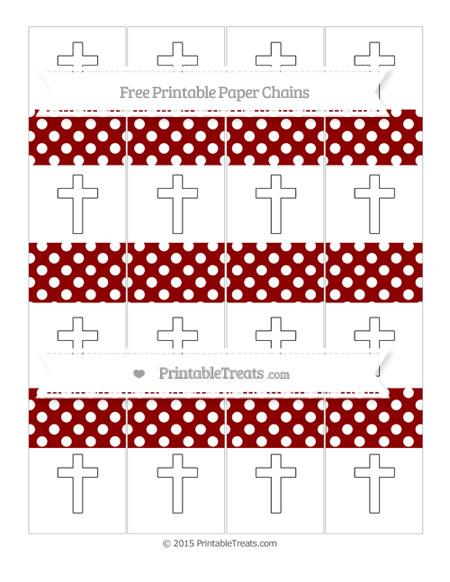 Free Dark Red Polka Dot Cross Paper Chains