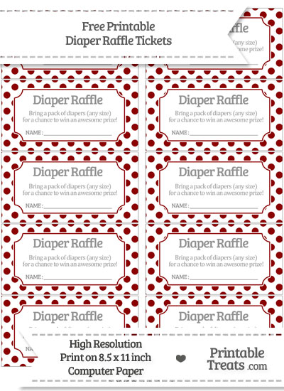 Free Dark Red Polka Dot Diaper Raffle Tickets
