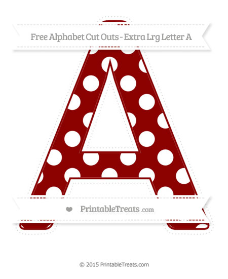 Free Dark Red Polka Dot Extra Large Capital Letter A Cut Outs