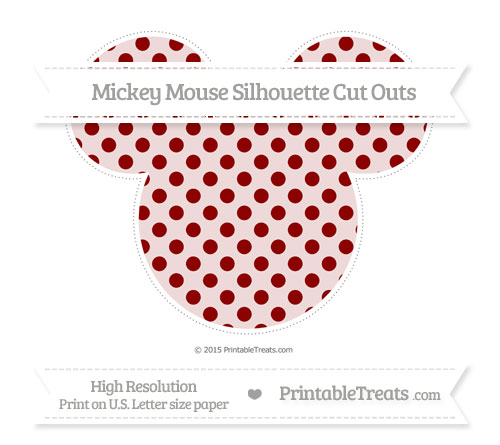 Free Dark Red Polka Dot Extra Large Mickey Mouse Silhouette Cut Outs
