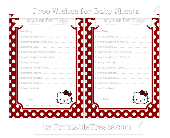 Free Dark Red Polka Dot Hello Kitty Wishes for Baby Sheets
