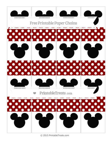 Free Dark Red Polka Dot Mickey Mouse Paper Chains