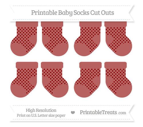Free Dark Red Polka Dot Small Baby Socks Cut Outs