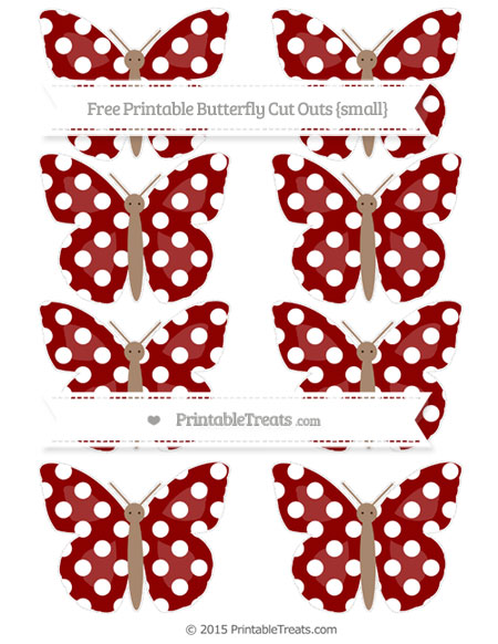 Free Dark Red Polka Dot Small Butterfly Cut Outs