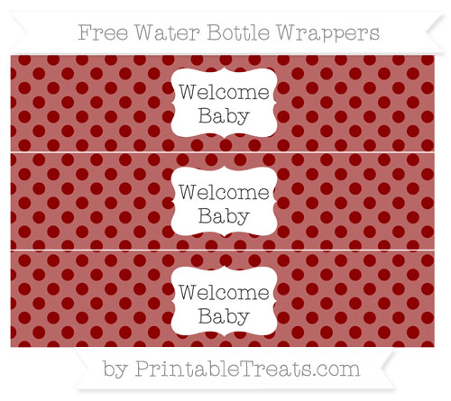 Free Dark Red Polka Dot Welcome Baby Water Bottle Wrappers