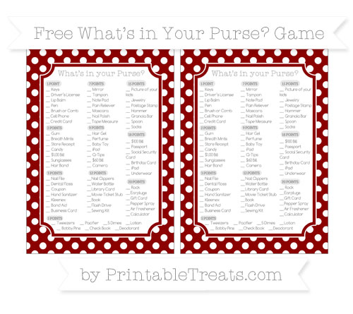 Free Dark Red Polka Dot What's in Your Purse Baby Shower Game