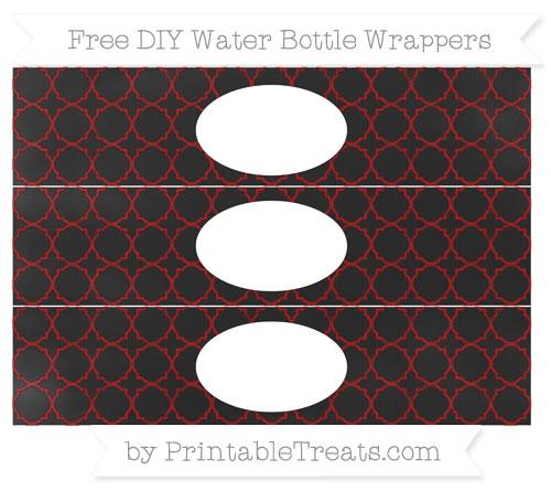 Free Dark Red Quatrefoil Pattern Chalk Style DIY Water Bottle Wrappers