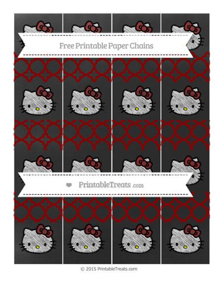 Free Dark Red Quatrefoil Pattern Chalk Style Hello Kitty Paper Chains
