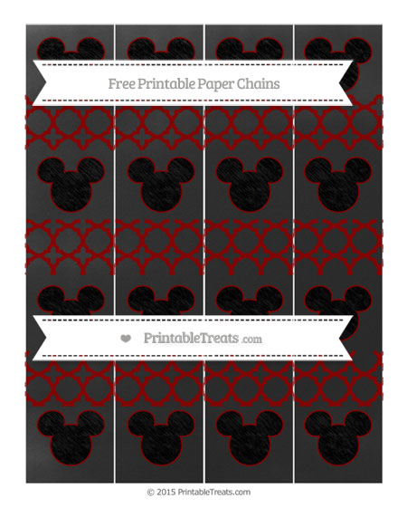 Free Dark Red Quatrefoil Pattern Chalk Style Mickey Mouse Paper Chains