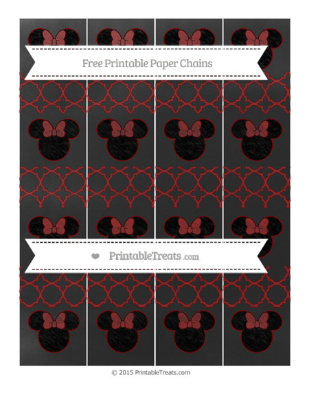 Free Dark Red Quatrefoil Pattern Chalk Style Minnie Mouse Paper Chains