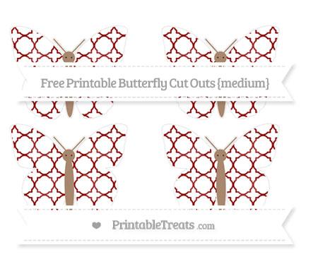 Free Dark Red Quatrefoil Pattern Medium Butterfly Cut Outs