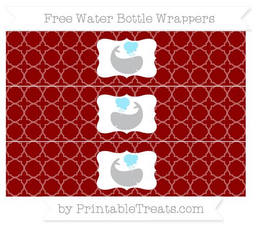Free Dark Red Quatrefoil Pattern Whale Water Bottle Wrappers