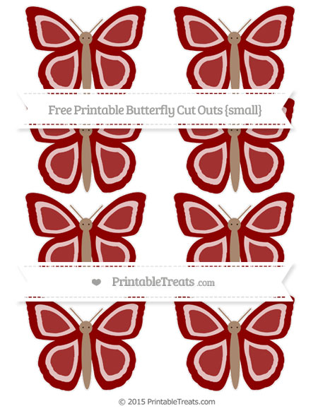Free Dark Red Small Butterfly Cut Outs