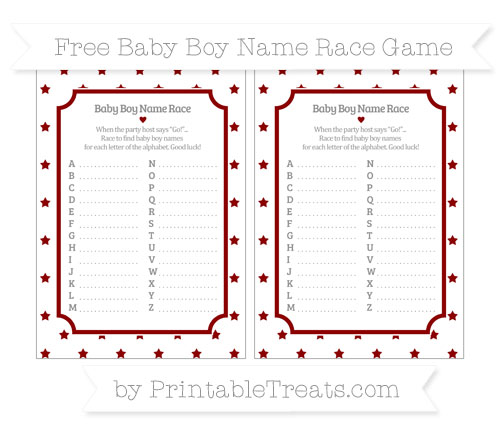 Free Dark Red Star Pattern Baby Boy Name Race Game