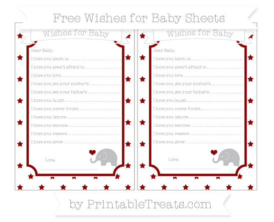 Free Dark Red Star Pattern Baby Elephant Wishes for Baby Sheets