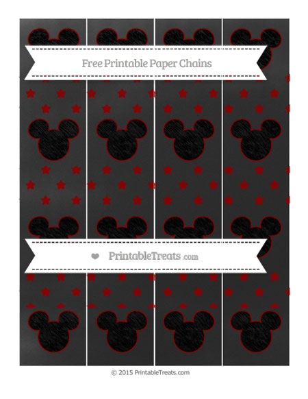 Free Dark Red Star Pattern Chalk Style Mickey Mouse Paper Chains