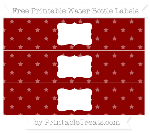Free Dark Red Star Pattern Water Bottle Labels