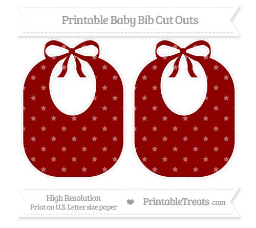 Free Dark Red Star Pattern Large Baby Bib Cut Outs