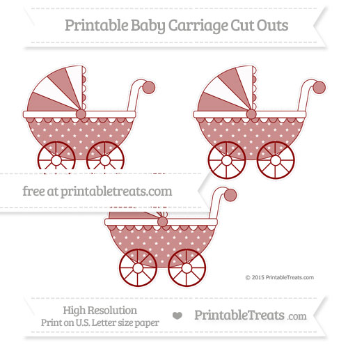 Free Dark Red Star Pattern Medium Baby Carriage Cut Outs