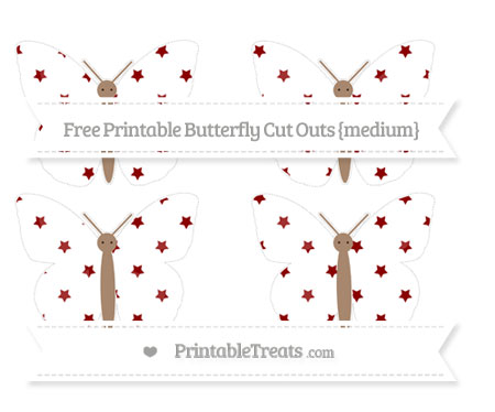 Free Dark Red Star Pattern Medium Butterfly Cut Outs