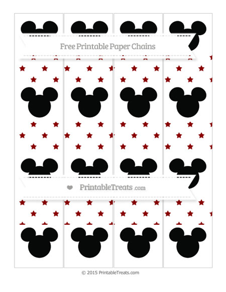 Free Dark Red Star Pattern Mickey Mouse Paper Chains