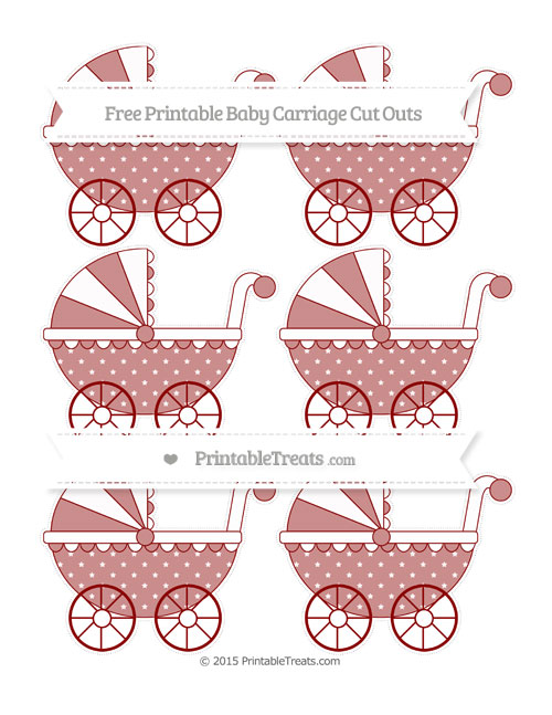 Free Dark Red Star Pattern Small Baby Carriage Cut Outs