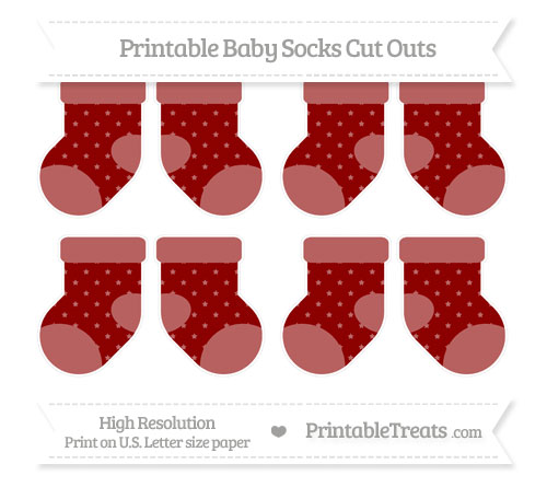 Free Dark Red Star Pattern Small Baby Socks Cut Outs