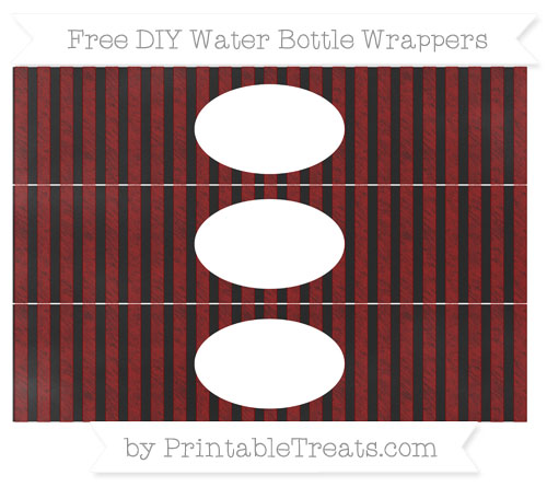 Free Dark Red Striped Chalk Style DIY Water Bottle Wrappers