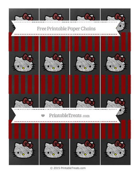 Free Dark Red Striped Chalk Style Hello Kitty Paper Chains