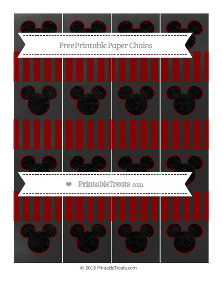 Free Dark Red Striped Chalk Style Mickey Mouse Paper Chains