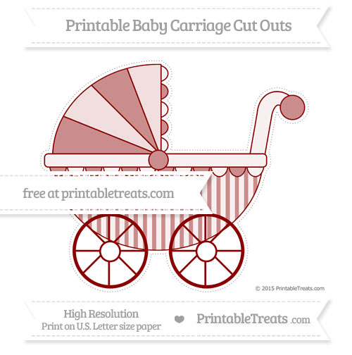 Free Dark Red Striped Extra Large Baby Carriage Cut Outs