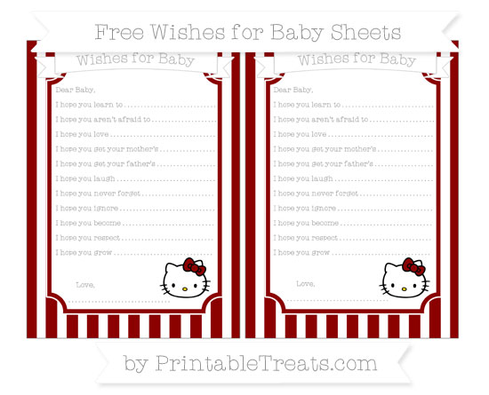 Free Dark Red Striped Hello Kitty Wishes for Baby Sheets