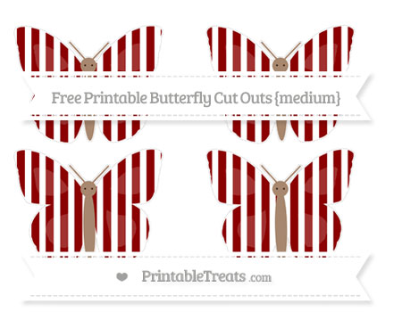 Free Dark Red Striped Medium Butterfly Cut Outs