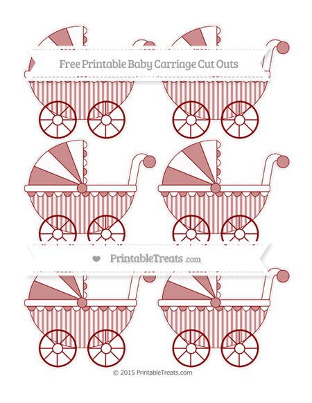 Free Dark Red Striped Small Baby Carriage Cut Outs