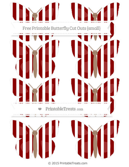Free Dark Red Striped Small Butterfly Cut Outs