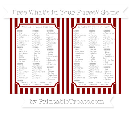 Free Dark Red Striped What's in Your Purse Baby Shower Game