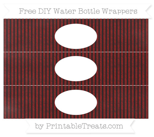 Free Dark Red Thin Striped Pattern Chalk Style DIY Water Bottle Wrappers