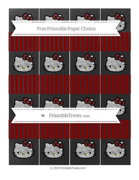 Free Dark Red Thin Striped Pattern Chalk Style Hello Kitty Paper Chains