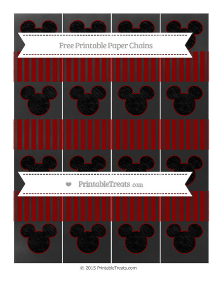 Free Dark Red Thin Striped Pattern Chalk Style Mickey Mouse Paper Chains