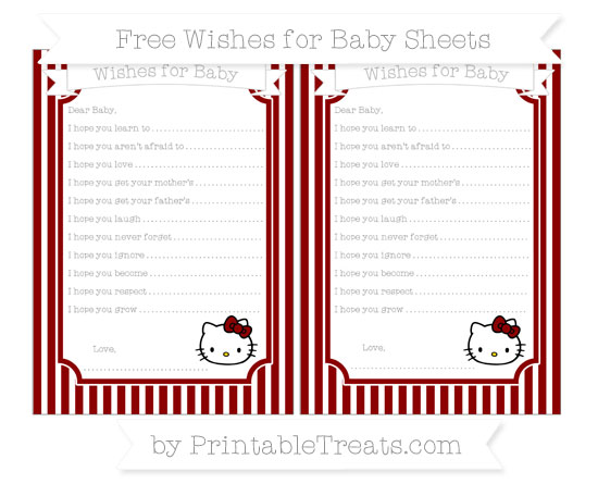 Free Dark Red Thin Striped Pattern Hello Kitty Wishes for Baby Sheets