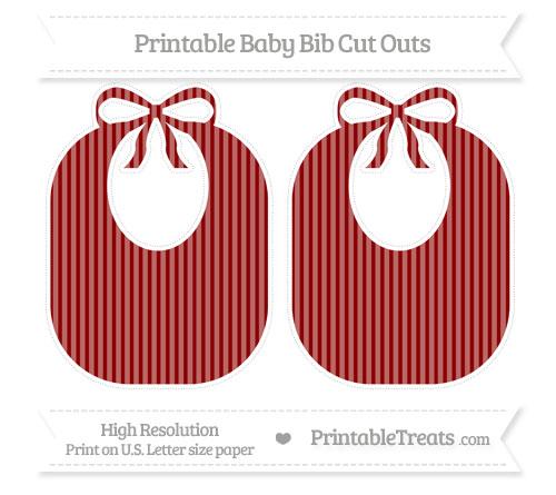 Free Dark Red Thin Striped Pattern Large Baby Bib Cut Outs