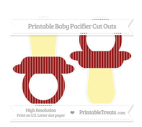 Free Dark Red Thin Striped Pattern Large Baby Pacifier Cut Outs