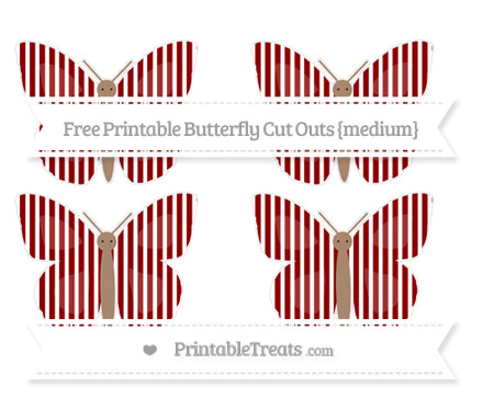 Free Dark Red Thin Striped Pattern Medium Butterfly Cut Outs