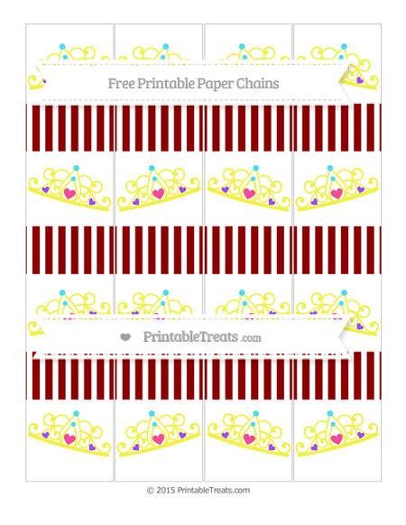 Free Dark Red Thin Striped Pattern Princess Tiara Paper Chains