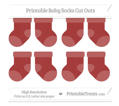 Free Dark Red Thin Striped Pattern Small Baby Socks Cut Outs
