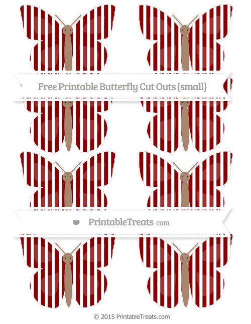 Free Dark Red Thin Striped Pattern Small Butterfly Cut Outs