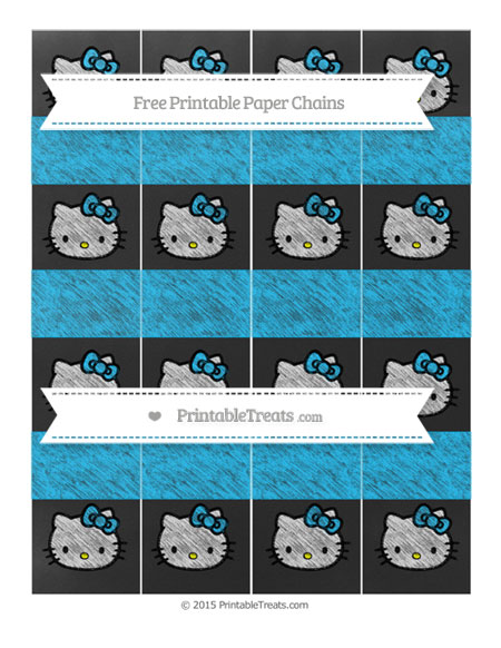 Free Deep Sky Blue Chalk Style Hello Kitty Paper Chains