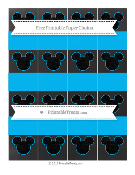Free Deep Sky Blue Chalk Style Mickey Mouse Paper Chains